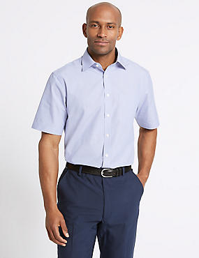 Easy to Iron Short Sleeve Shirt with Pocket, CORNFLOWER, catlanding