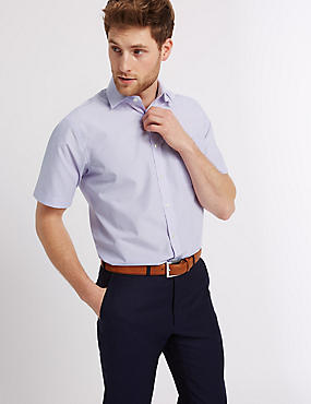 Easy to Iron Short Sleeve Shirt with Pocket, LILAC, catlanding