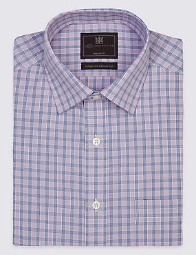 Non-Iron Short Sleeve Shirt with Pocket, MAGENTA, catlanding