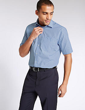 Non-Iron Short Sleeve Shirt with Pocket, BLUE MIX, catlanding