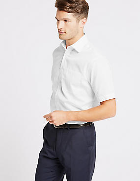Easy to Iron Short Sleeve Shirt with Pocket, WHITE, catlanding