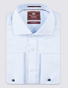 2in Longer Pure Cotton Non-Iron Shirt, SKY, catlanding