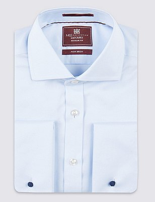 2in Longer Pure Cotton Ultimate Non-Iron Twill Shirt, SKY, catlanding