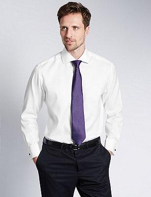 2in Longer Pure Cotton Ultimate Non-Iron Twill Shirt, WHITE, catlanding