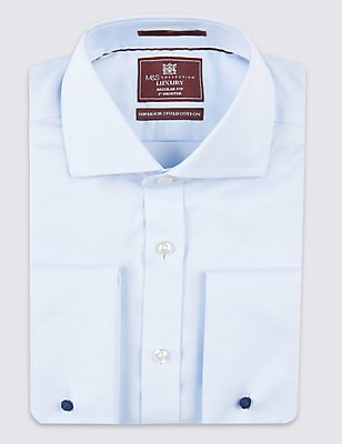 2in Shorter Pure Cotton Non-Iron Shirt, SKY, catlanding