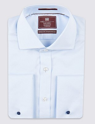 2in Shorter Pure Cotton Non-Iron Twill Shirt, SKY, catlanding