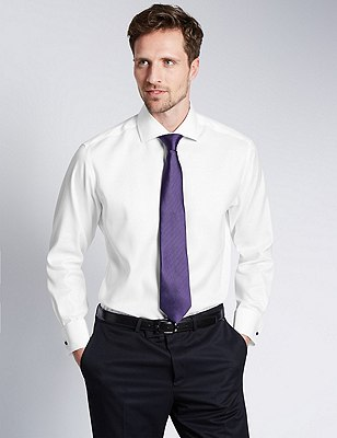 2in Shorter Pure Cotton Non-Iron Twill Shirt, WHITE, catlanding