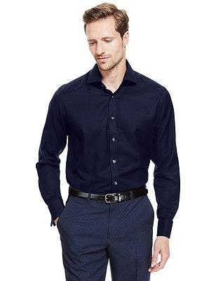 Pure Cotton Non-Iron Twill Shirt, NAVY, catlanding