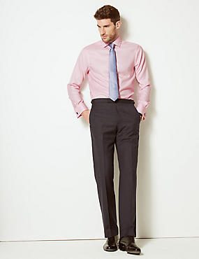 Pure Cotton Slim Fit Twill Shirt, PINK SORBET, catlanding