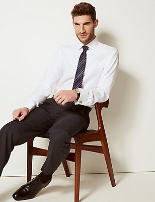 Pure Cotton Non-Iron Slim Fit Shirt, WHITE, catlanding
