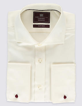 Pure Cotton Non-Iron Shirt, IVORY, catlanding