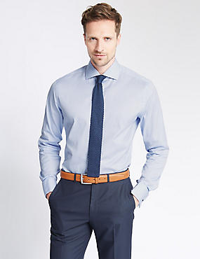 Pure Cotton Slim Fit Checked Shirt, BLUE, catlanding