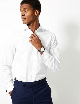 Pure Cotton Slim Fit Shirt, WHITE, catlanding