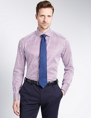 Pure Cotton Tailored Fit Striped Shirt, PINK MIX, catlanding