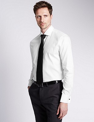 Pure Cotton Satin Textured Shirt, WHITE, catlanding