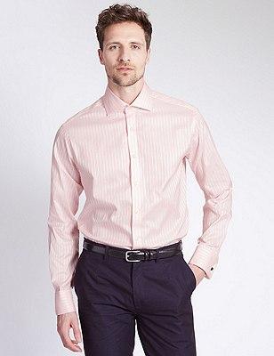 Pure Cotton Slim Fit Striped Shirt, PINK, catlanding