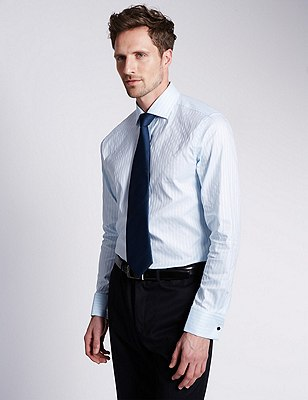 Pure Cotton Slim Fit Striped Shirt, SKY, catlanding