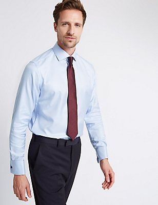 Pure Cotton Tailored Fit Checked Shirt, BLUE MIX, catlanding