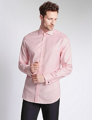 Pure Cotton Slim Fit Micro Puppytooth Checked Shirt, PINK, catlanding