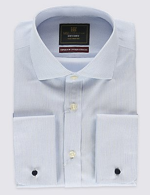 Pure Cotton Non-Iron Tailored Fit Shirt, BLUE MIX, catlanding