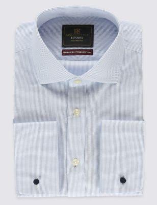 Слегка приталенная рубашка из чистого хлопка Non-Iron с мелким принтом под запонки