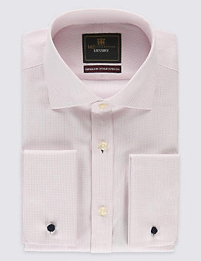 Pure Cotton Non-Iron Tailored Fit Shirt, PALE PINK MIX, catlanding