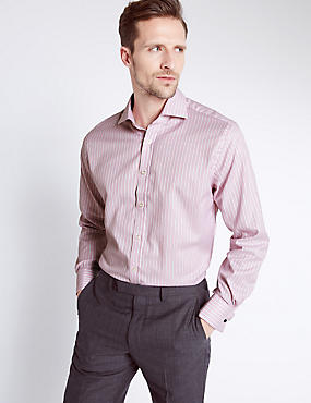Pure Cotton Striped Shirt, PINK MIX, catlanding