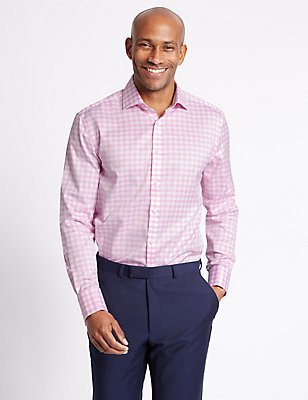 Pure Cotton Tailored Fit Shirt , PINK MIX, catlanding