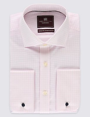 Pure Cotton Easy to Iron Regular Fit Shirt, PINK MIX, catlanding