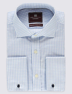 Pure Cotton Checked Shirts, BLUE MIX, catlanding