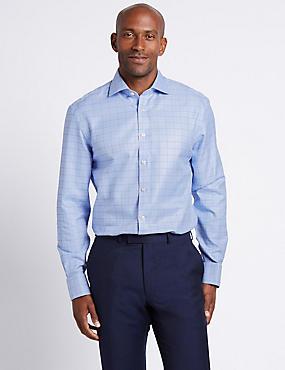 Pure Cotton Non-Iron Textured Shirt, BLUE MIX, catlanding