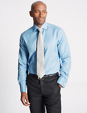 Pure Cotton Non-Iron Tailored Fit Shirt, BLUE, catlanding