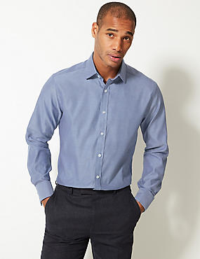 Pure Cotton Easy To Iron Regular Fit Shirt, DARK NAVY MIX, catlanding
