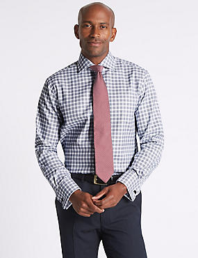 Pure Cotton Regular Fit Checked Shirt, COBALT, catlanding