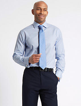 Pure Cotton Easy to Iron Tailored Fit Shirt, LIGHT BLUE MIX, catlanding