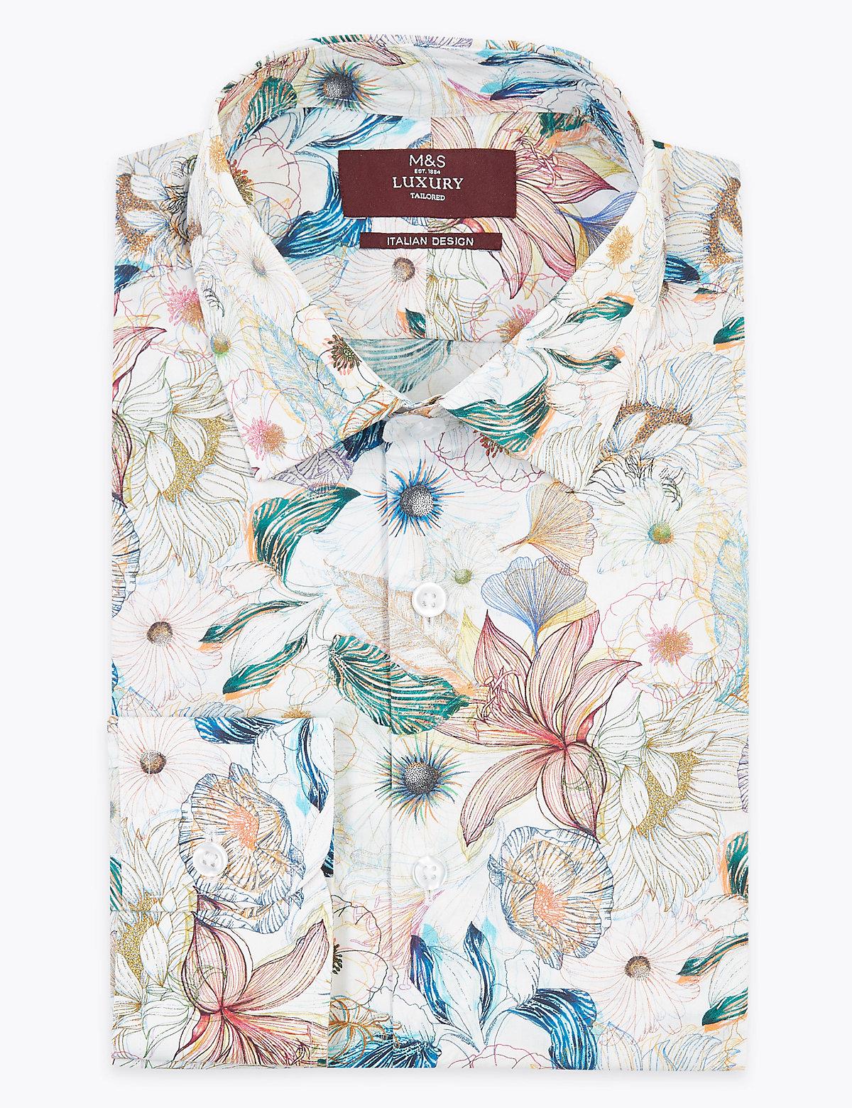 Хлопковая мужская рубашка с цветочным принтом