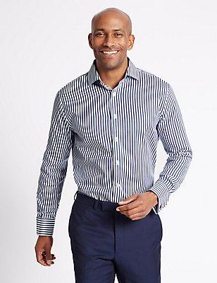 Pure Cotton Tailored Fit Striped Shirt, DARK NAVY MIX, catlanding