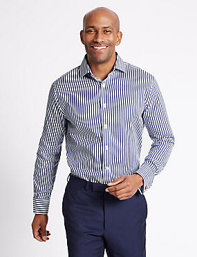 Pure Cotton Tailored Fit Striped Shirt, DARK NAVY MIX, catlanding