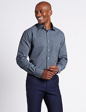 Linen Blend Tailored Fit Shirt, DENIM, catlanding