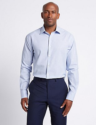 Linen Blend Tailored Fit Striped Shirt , LIGHT BLUE MIX, catlanding