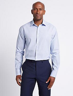 Linen Blend Tailored Fit Striped Shirt , LIGHT BLUE MIX, catlanding