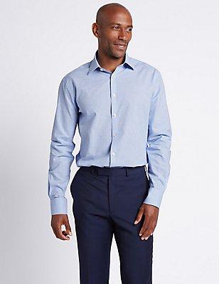 Camisa de corte sastre de cuadros con lino , MEZCLA DE TONOS AZUL CLARO, catlanding