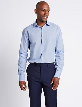 Linen Blend Tailored Fit Checked Shirt , LIGHT BLUE MIX, catlanding