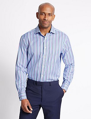 Pure Cotton Striped Shirt , MULTI, catlanding
