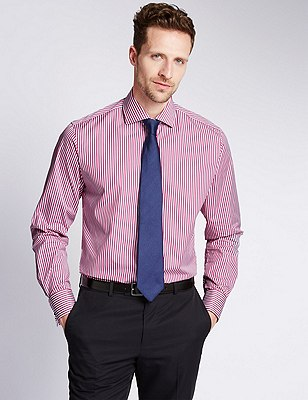 Pure Egyptian Cotton Bengal Striped Shirt, PINK MIX, catlanding