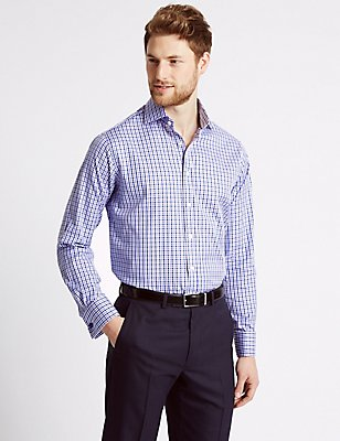 Pure Cotton Regular Fit Checked Shirt, PURPLE MIX, catlanding