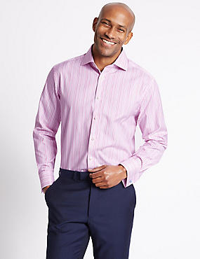 Pure Cotton Striped Shirt , BRIGHT PINK MIX, catlanding