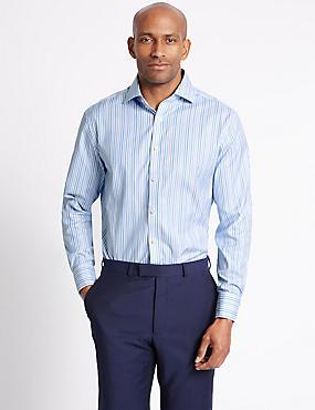 Pure Cotton Striped Shirt , BLUE MIX, catlanding