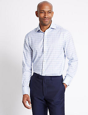 Pure Cotton Checked Shirt , BLUE MIX, catlanding