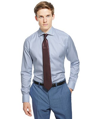Pure Cotton Tailored Fit Non-Iron Dipped Checked Shirt, BLUE, catlanding